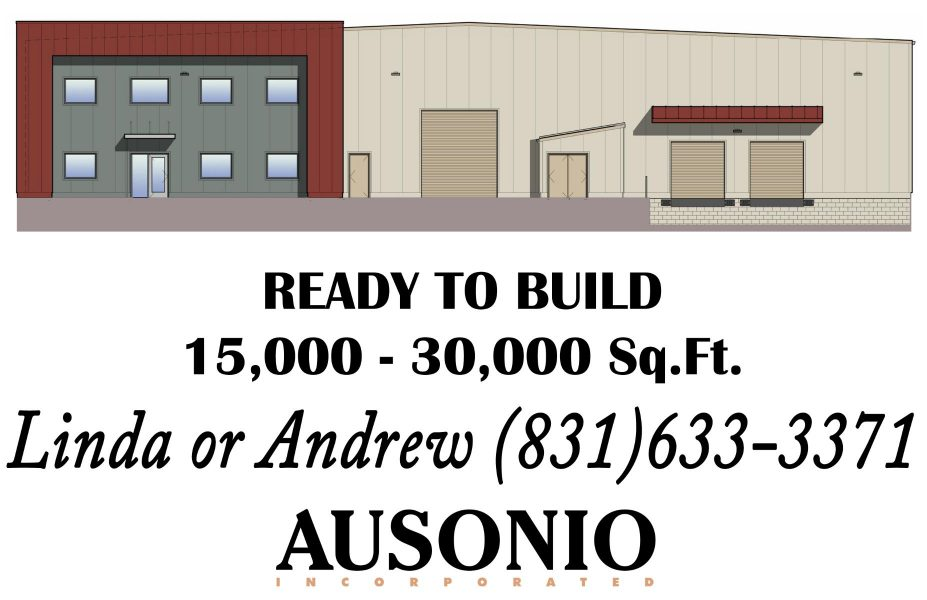 """An image of a sales flyer for lot 46 of Castroville Industrial Park. Text says """"Ready to Build. 15,000-30000 square feet. Linda or Andrew (831) 633-3371. Ausonio Incorporated Logo."""