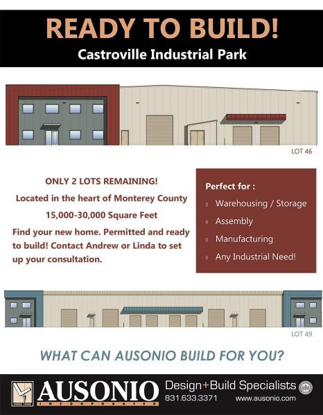 Front image of a brochure for the Castroville Industrial Park. All text details are on the page.