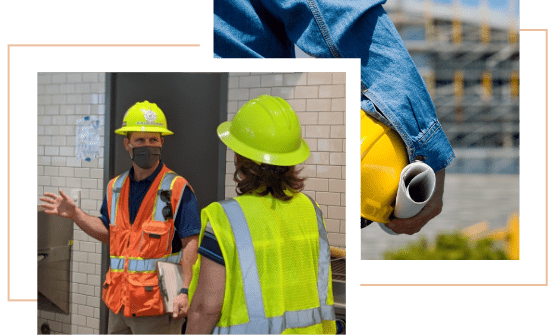 Two images of construction managers on job sites.